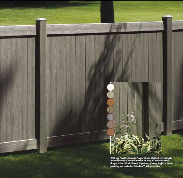 Weathered Blend Chesterfield Certagrain Vinyl Fence